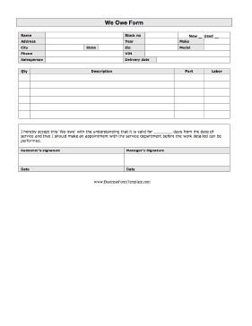 A printable We Owe form for the auto sales or repair industry ...