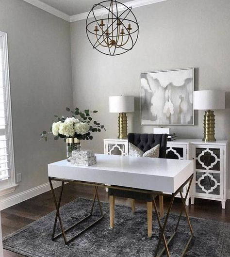 White Home Office Ideas To Make Your Life Easier; home office idea;Home Office Organization Tips; chic home office. Decor, Furniture, Home Office Decor, Home Office Furniture, Interior, Home Decor, House Interior, Chic Office Desks, Home Interior Design