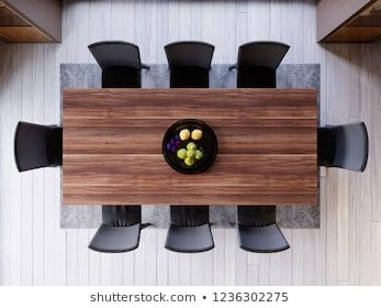 Top View Over Dining Table In Dining Room Ceramic Dish Decoration