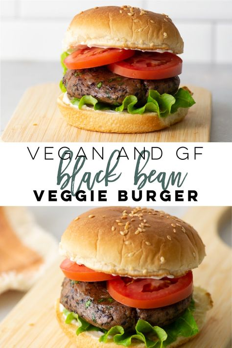 Vegan and GF Black Bean Burgers + VIDEO! Vegan and Gluten-Free Black Bean Burgers — This veggie burger is so easy to make and healthy! Full of flavor, these vegan burgers are the BEST! Perfect for a plant-based dinner. Vegan Veggie Burger, Homemade Veggie Burgers, Tofu Burger, Lentil Burgers, Vegetarian Barbecue, Vegan Burgers, Vegetarian Cooking, Turkey Burgers, Vegan Black Bean Burgers