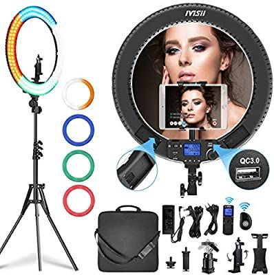 Amazon Com Ivisii 19 Inch Ring Light With Remote Controller And Stand Ipad Holder 60w Bi Color With 4 Color Sof Led Ring Light Ipad Holder Selfie Ring Light
