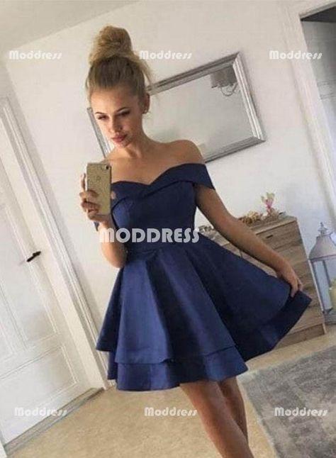 452a5fd75b Cute Blue Short Homecoming Dresses Off the Shoulder Prom Dresses Knee  Length Evening Formal Dresses