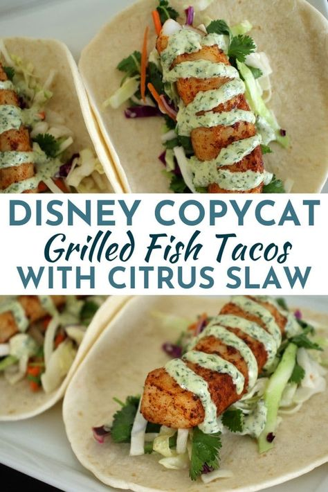 These easy Grilled Fish Tacos feature crunchy citrus slaw, flaky fish, and tangy cilantro-lime mayo. All wrapped up in soft tortillas, they are delicious replicas of the fresh fish tacos at Disney's Polynesian Village Resort. Fish Dishes, Seafood Dishes, Seafood Recipes, Mexican Food Recipes, Dinner Recipes, Mexican Meals, Fish Taco Recipes, Grilled Fish Recipes, Seafood Appetizers