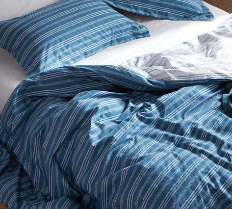 Oversized King Duvet Cover Stylish Blue Faded Stripes Design Essential King  XL Bedding Decor