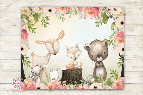 Woodland Animals Wall Art Print Wal Art Print Boho Deer Bunny Fox Bear Hedgehog Bohemian Watercolor Baby Girl Nursery Printable Decor
