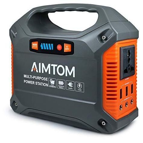 AIMTOM Portable Solar Generator, 42000mAh 155Wh Power Station, Emergency Backup Power Supply with Flashlights, for Camping, Home, CPAP, Travel, Outdoor (110V/ 100W AC Outlet, 3X 12V DC, 3X USB Output) - 155Wh