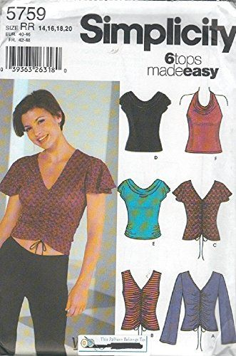 Simplicity Pattern 5759 Misses Knit Tops Size 14-20