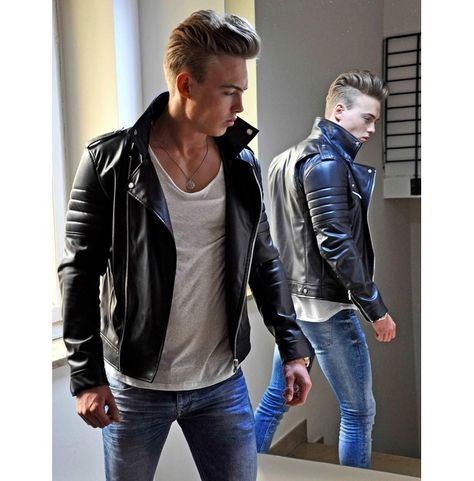Handmade Men Black Cowhide Fashion Leather Jacket, Leather Jackets For