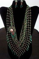Liking the Length! Green beaded kerchief with bronze connecting beads and detachable bead embroidery brooch and small earrings