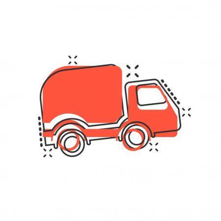 Delivery Truck Sign Icon In Comic Style Van Vector Cartoon Illu