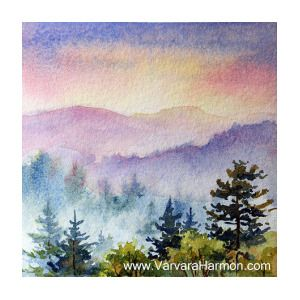 Mountain Sunset 2 By Varvara Harmon With Images Watercolor Landscape Watercolor Sunset Mountain Paintings