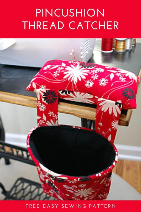 DIY Pincushion Thread Catcher free sewing pattern and tutorial. Combines a weighted pincushion and thread garbage basket for a neat sewing table. This easy beginner sewing project makes a great DIY gift idea! Sew one today for your sewing machine. Sewing Machines Best, Sewing Machine Projects, Diy Sewing Projects, Sewing Projects For Beginners, Sewing Hacks, Sewing Tips, Sewing Tutorials, Sewing Crafts, Beginner Sewing Patterns