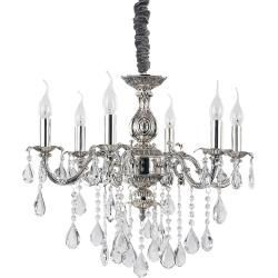 Ideal Lux Chandelier Antique Silver 6 Lights Crystal In 2020