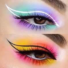 makeup like kendall jenner makeup for older women eye makeup makeup trends 2020 makeup styles makeup questions makeup dark makeup and contacts Eye Makeup Designs, Eye Makeup Art, Colorful Eye Makeup, Fairy Makeup, Mermaid Makeup, Makeup Inspo, Eyeshadow Makeup, Makeup Inspiration, 80s Makeup