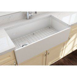 Bocchi Contempo 36 In Apron Front Fireclay Single Bowl Kitchen Sink With Grid And Drain Single Bowl Kitchen Sink Sink Fireclay Farmhouse Sink