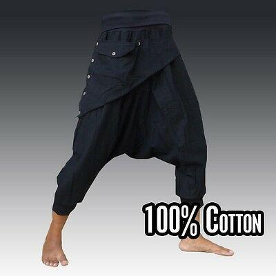 Ninja pants drop crotch pants Boho Hippie pants Harem pants men women handmade from cotton black