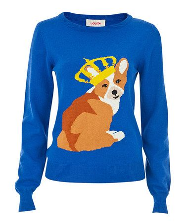Look at this #zulilyfind! Blue & Brown King Corgi Sweater #zulilyfinds