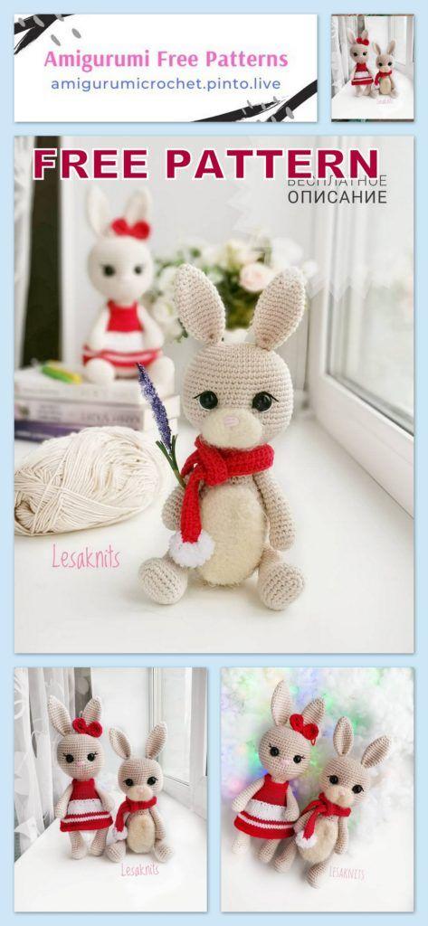 The Cutest Bunny Rabbit Free Crochet Patterns | Crochet bunny ... | 1024x473