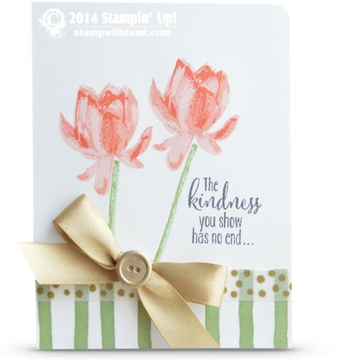 Today's gorgeous card offers a sneak peek at both the new Stampin Up Occasions AND Sale-a-bration catalogs combined...bonus! The flowers and words are from the new SAB Lotus Blossom stamp set, ...