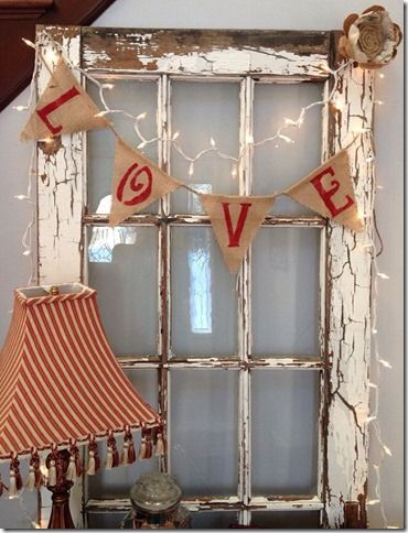 Love Valentine's Day/Wedding Burlap Banner-and an idea for how to use my old windows. Valentines Day Weddings, Valentines Day Decorations, Valentine Day Crafts, Love Valentines, Holiday Crafts, Valentines Day Decor Rustic, Valentine Ideas, Vintage Valentines, Office Decorations