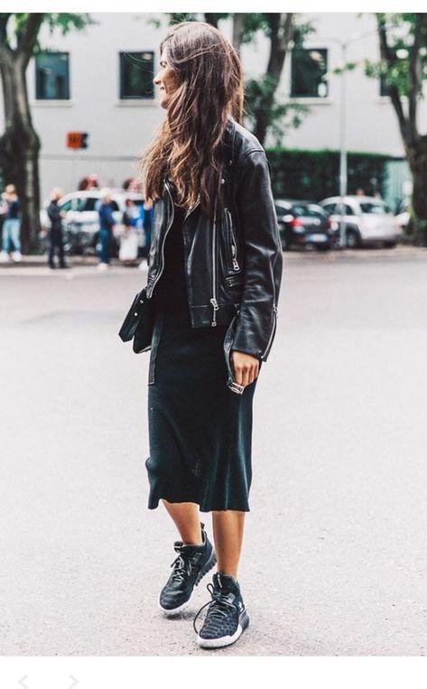 MFW Milan Fashion Week-Spring Summer Street Style: biker jacket, black sneakers and black dress.