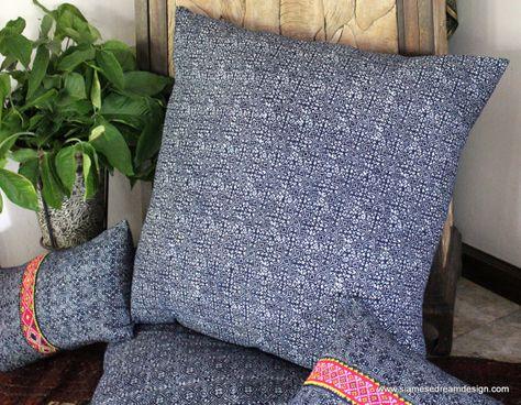 Large Natural Indigo Batik Hmong Floor Pillow Cushion Cover 30 Inch Square Bohemian Pillows Hmong Artesanias