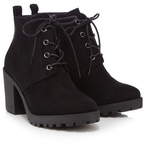 918c2669b Red Herring Black lace-up block heel ankle boots (1.985 RUB) ❤ liked on Polyvore  featuring shoes, boots, ankle booties, heels, suede lace-up booties, ...