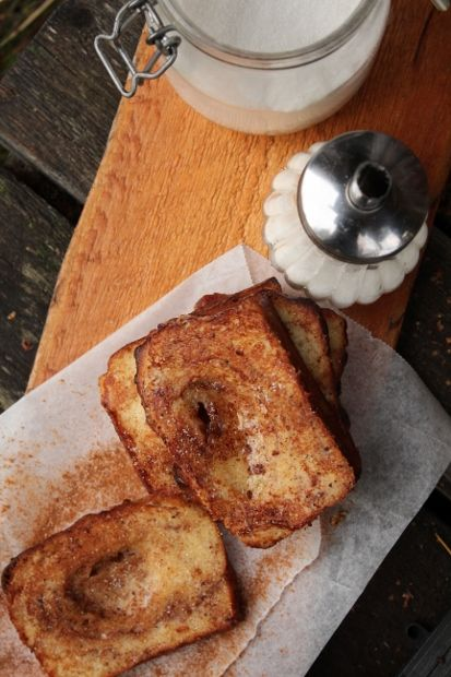 Sweet and cinnamon tasting french toast for breakfast.