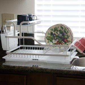 Evelyne 10219 Aluminum Frame Kitchen Tier Dish Drying Rack Dish