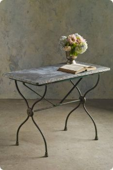 french bistro console table with cast iron base and marble top rh pinterest com