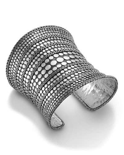 Goldia Sterling Silver Rhodium Plated Polished Cuff Bangle