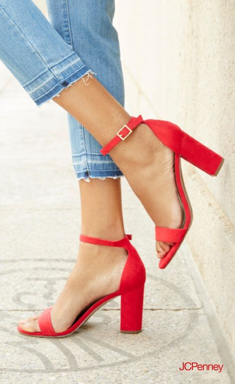 1951ba1acd09c Block heel + frayed denim   that dressy casual look you can rock ...