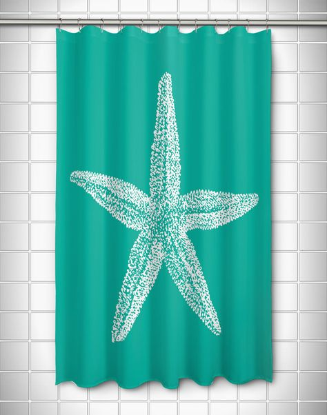 Vintage Starfish Shower Curtain White On Aqua White Shower Curtain Nautical Shower Curtains Cool Shower Curtains