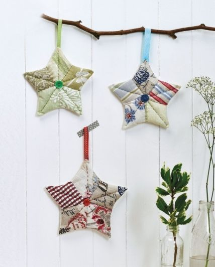 Patchwork Stars Free Sewing Patterns Sew Magazine If You Ve Never Fabric Christmas Ornaments Fabric Christmas Decorations Christmas Decorations Sewing