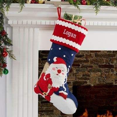 Bed Bath And Beyond Christmas Stockings.Bed Bath Beyond Joyful Santa Personalized Christmas