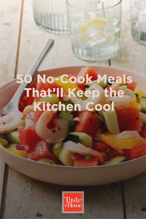 When the dog days of summer roll in and it's just too hot to turn on the oven, keep cool with a no-cook dinner. Enjoy these light salads, sandwiches and soups—all made without breaking a sweat.