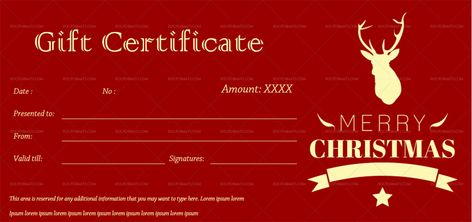 Download Red Christmas Gift Certificate Template (#561T) MS WORD in Microsoft Word (DOC). Red Christmas Gift Certificate Template (#561T) MS WORD is designed by expert designers and is completely customizable. Download, Edit  Print.