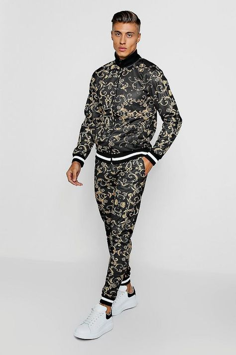 Baroque Print Funnel Neck Skinny Fit Tracksuit