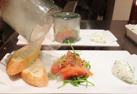 Hickory smoked raw salmon with dill sour cream