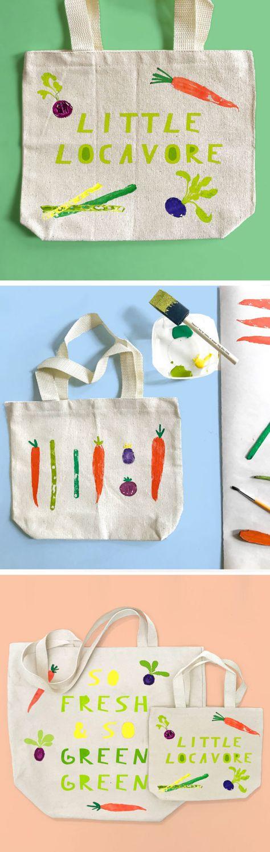 Make Vegetable Stamped Diy Farmer S Market Totes