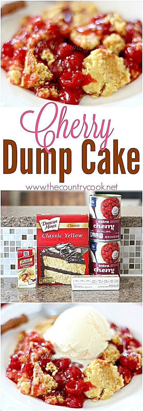 """Cherry Dump Cake recipe from The Country Cook - only 4 ingredients! One of my absolutely favorites. Can be done in the crock pot too! Easy cherry dump cake - This easy Cherry Dump Cake dessert is made with cake mix, cherry pie filling, butter and a secret ingredient. """"Dump"""" and bake! #woadelish #foodexplorer #smile #foodforfoodies #foodtrucks #foodie #foodislife #italianfood #lunch #happy #foodlife #drinks #foodpictures #foodporn #foodietribe #FoodStylist"""