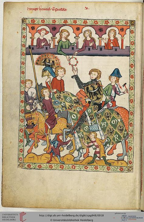 1300 Germany: Color-Coded World. In a successful warring King's House (red and purple pillars) the Queen shares joy and felicity (matching garb) with a young Duke (green), bestowing her Favour as the horn calls to battle. She is elevated and protected by the King (purple railing). Both are surrounded/supported by King's attendants (purple).  Each is also encouraged by a spirited, perhaps irresponsible (red) companion who anticipates the best.  Fool points to troubadour singing of courtly love.