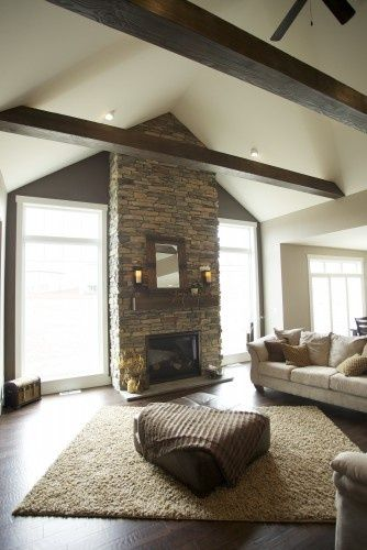 fireplace with windows on each side | love the windows on each side of fireplace- Bismarck | For the Home