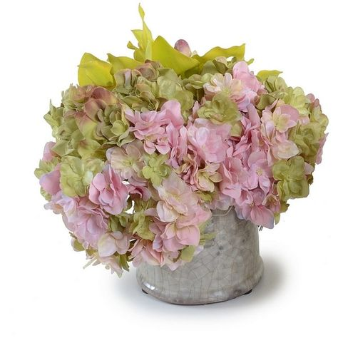 New Growth Designs Hydrangea And Orchid Faux Flower (1.640 ARS) ❤ liked on Polyvore featuring home, home decor, floral decor, flowers, backgrounds, fillers, floral, green silk flowers, pink artificial flowers and orchid pot