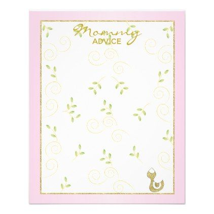 Baby Shower Advice Card Quot Gold Pink Birds Quot Baby Gifts