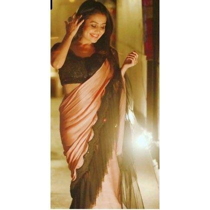 Neha Kakkar Style Peach Black Colour Party Wear Ruffle Saree Bridal Lehenga Red Silk Saree Blouse Designs Sarees For Girls