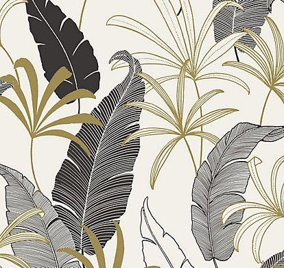 Goodhome Selago Black White Leaf Gold Effect Smooth Wallpaper Papier Peint Papier Peint Intisse Art De La Feuille