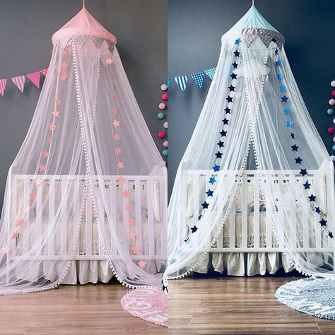 Twins canopy, Pink crib canopy,  baby canopy net, twins nursery decor, bed baldachin, playhouse,nursery bedding for twins by Goldenbabystore on Etsy