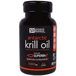 Sports Research Superba 2 Antarctic Krill Oil With Astaxanthin 1 000 Mg 60 Softgels Antarctic Krill Oil Antarctic Krill Krill Oil