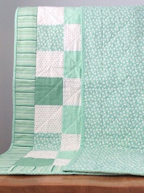 Coral Beginner Simple and Easy Strip Quilt Kit Teal and Gray Flower and Butterfly Baby Girl Precut Flannel Quilt Top Kit